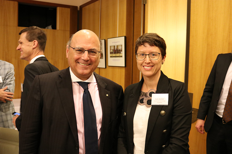CEO of STA, Kylie Walker with Minister for Industry, Innovation and Science, Arthur Sinodinos