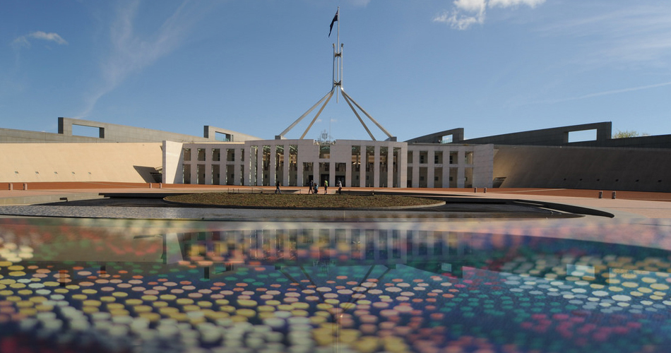 Parliament House with indigenous artwork