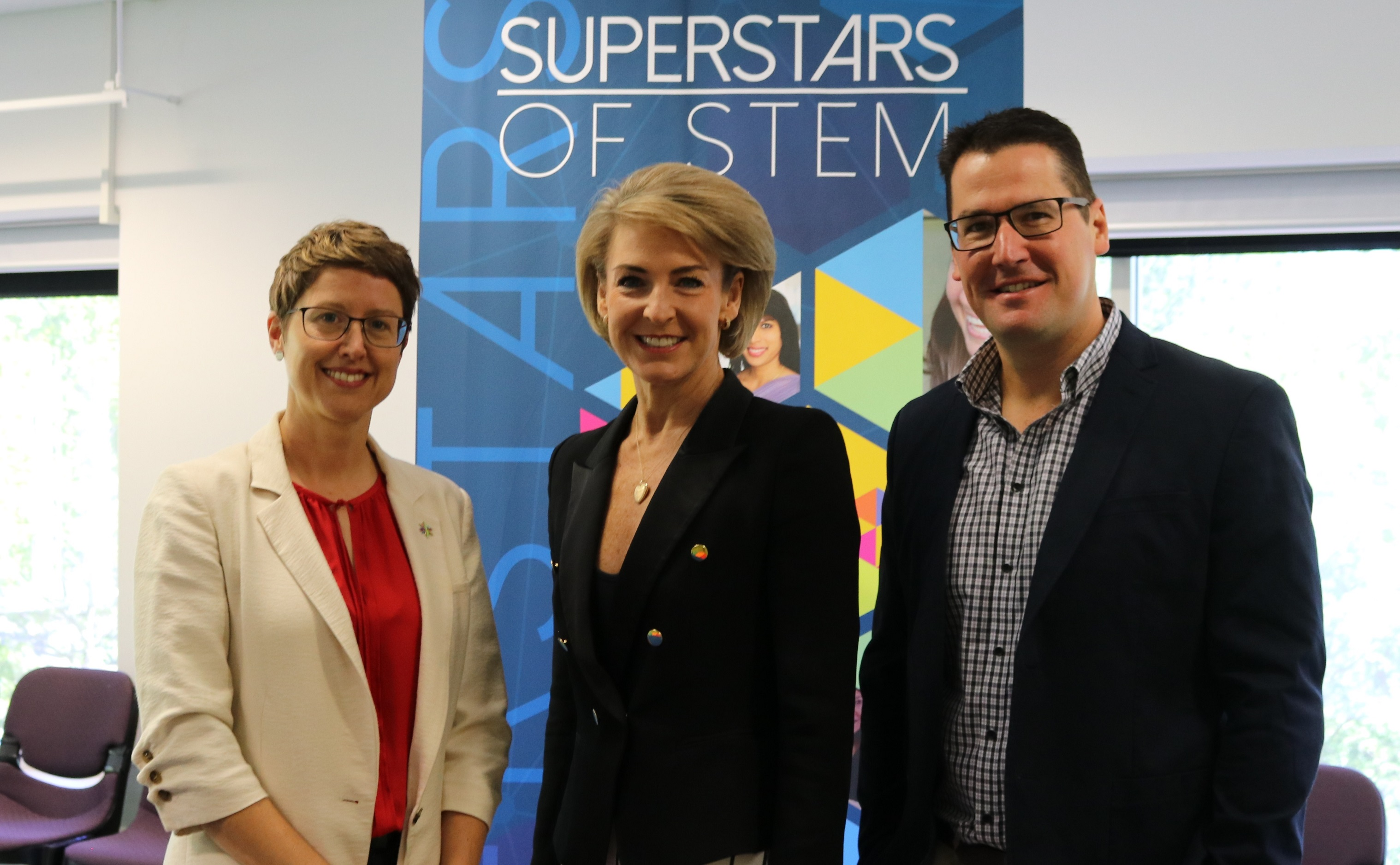 Kylie Walker, Minister Michaelia Cash and Assistant Minister Zed Seselja