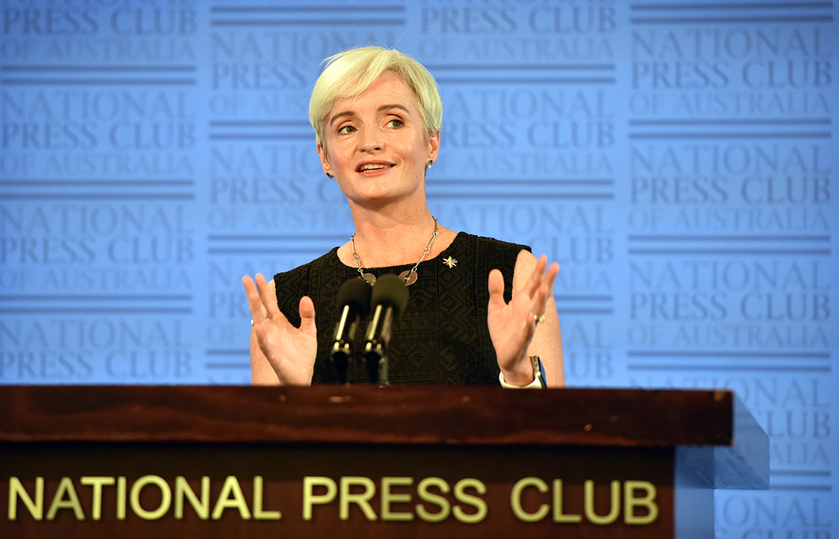 Professor Emma Johnston at the National Press Club
