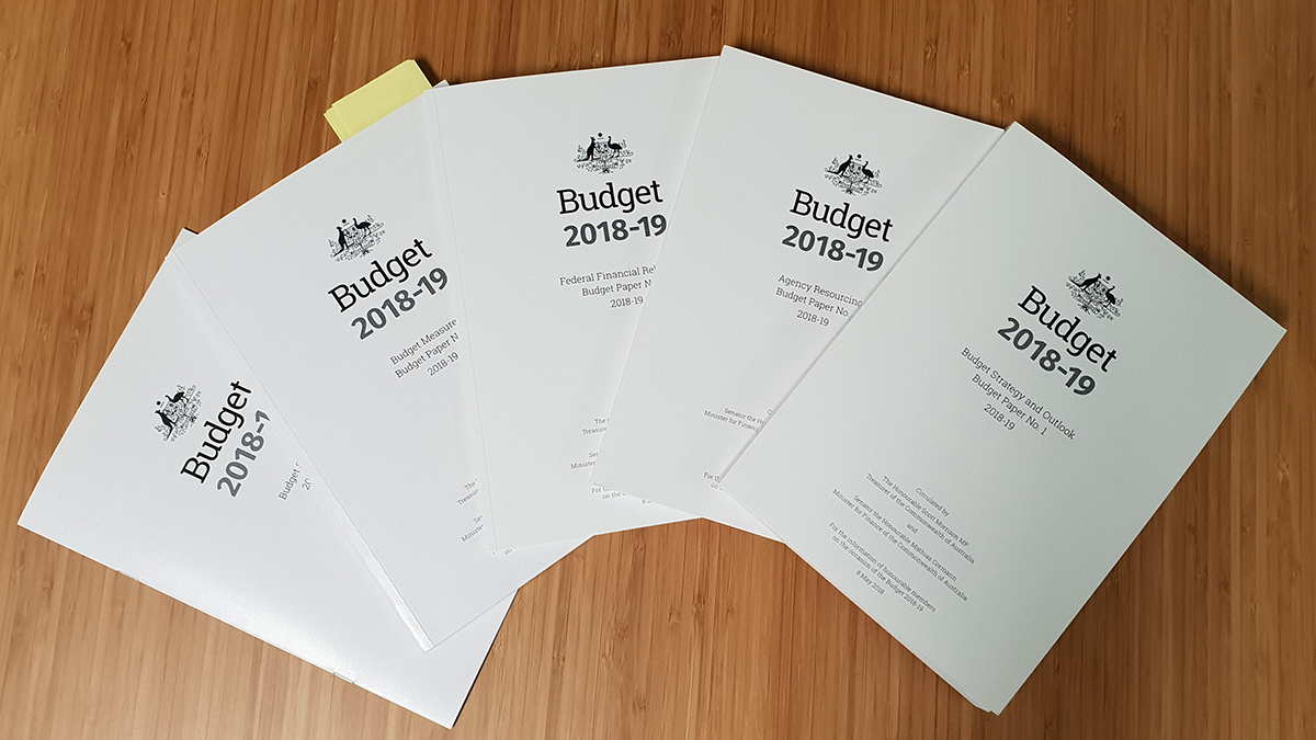 2018 Budget papers spread on a table