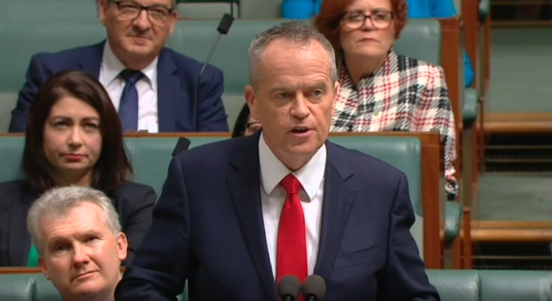 Bill Shorten delivering his Budget Reply speech