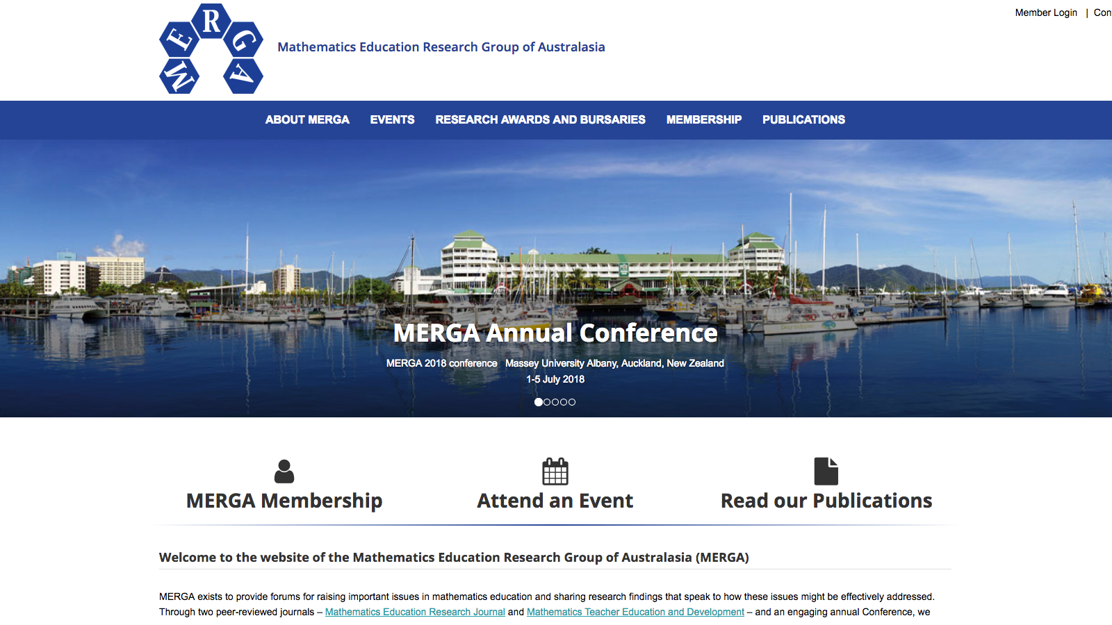 Screenshot of the new website by MERGA