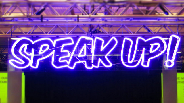 Neon sign with words Speak Up! - image by Howard Lake