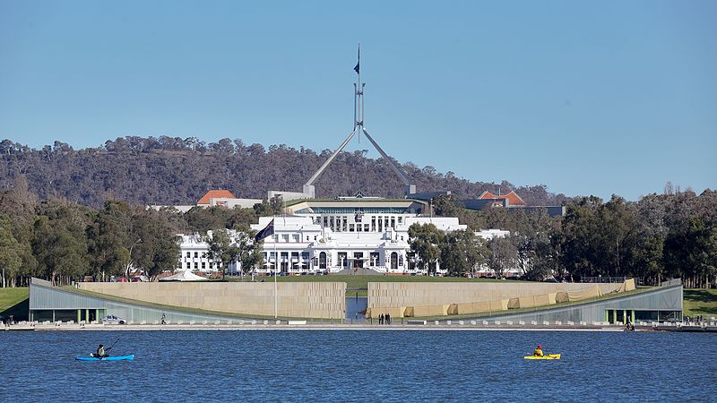 Parliament House viewed from across Lake Burley Griffin