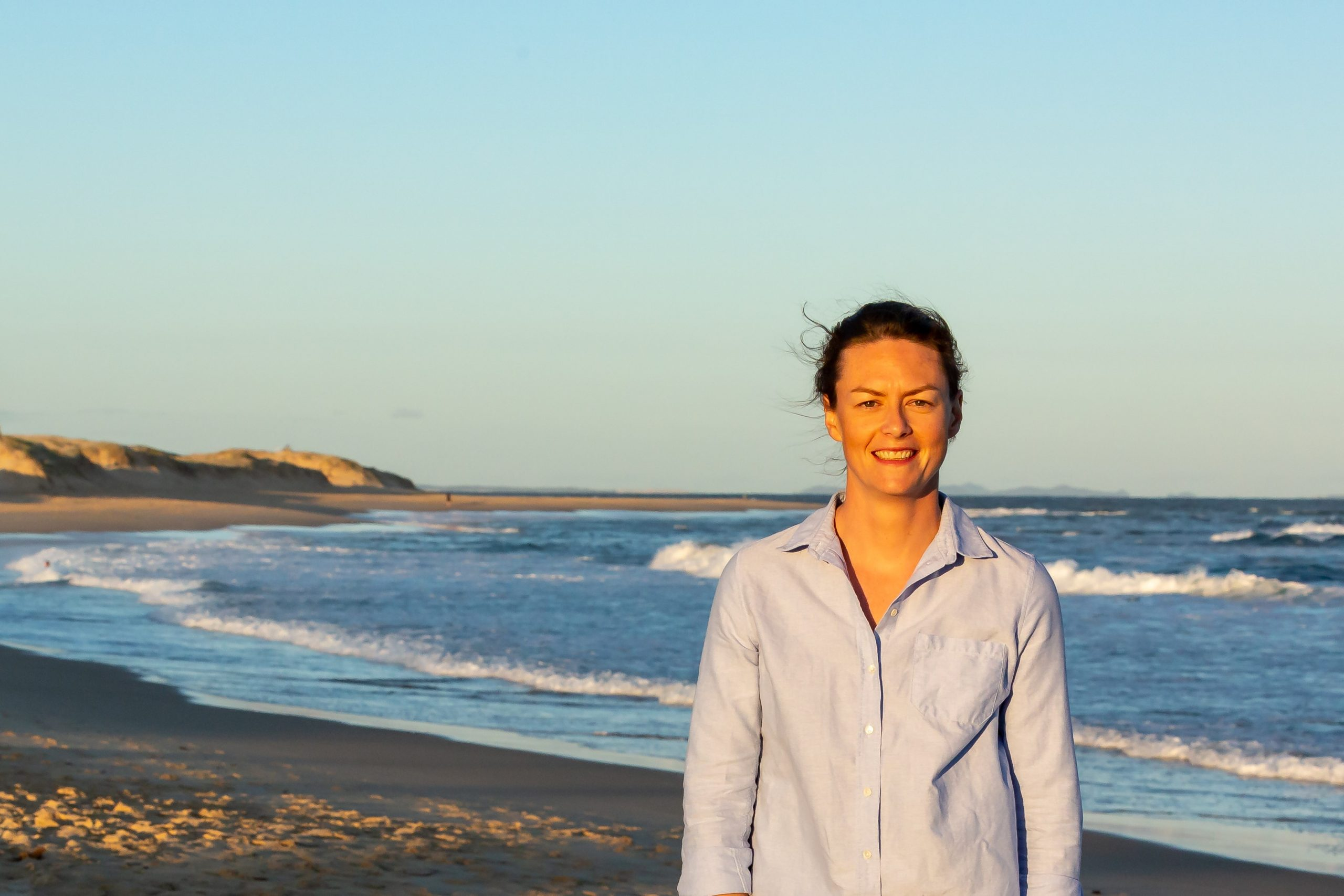 Dr Hannah Power, Senior Lecturer, School of Environmental and Life Sciences (Earth Sciences). Photo taken for her nomination in the Superstars of STEMM awards. Pic at Nobbys Beach (about 7pm) on Monday November 9, 2020, by Eddie O'Reilly UON Marketing and Comms.